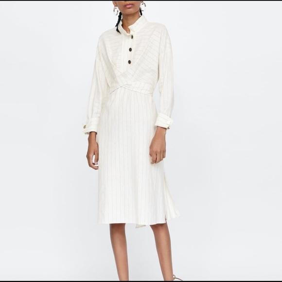 Zara Dresses & Skirts - NWT Zara Pinstripe Linen Midi Dress